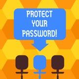 Запись текста почерка защищает ваш пароль Смысл концепции защищает информацию доступную через пробел компьютеров бесплатная иллюстрация