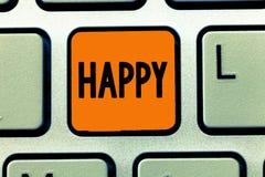 Запись текста почерка счастливая Довольство чувства смысла концепции или удовольствия показа о что-то персона стоковая фотография rf