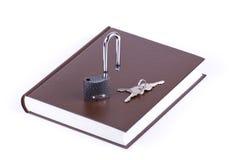 запишите коричневый ключевой padlock Стоковое Фото