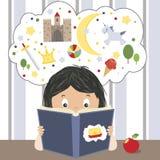 запишите поле глубины ребенка камеры смотря чтение отмелое Стоковая Фотография RF