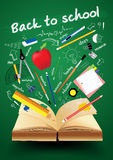 Vector книга с назад к принципиальной схеме школы творческой Стоковые Изображения