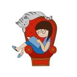 запишите чтение девушки Стоковая Фотография RF