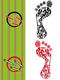 запишите whit эскиза следа ноги расцветки Стоковые Изображения