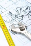 запланирование дома строения к Стоковое Изображение