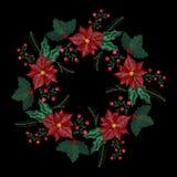 Заплата вышивки рождества, венок с омелой, цветками, деревом, заводами колоколов звона для украшения Нового Года иллюстрация вектора