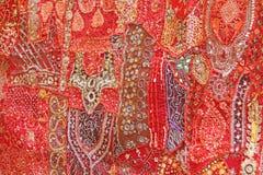 Заплатка индия Квадраты Индии покрашенные вышивкой Яркий mu Стоковое фото RF