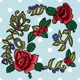 Заплаты вышивки флористические с упрощенными розами и rowanberries Стоковая Фотография RF