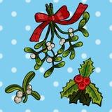 Заплаты рождества вышивки с омелой Стоковое фото RF