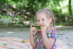 Заплетенная маленькая девочка сдерживая сочный кусок арбуза на пикнике пляжа стоковые фото