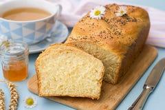 Заплетенный challah бриоши белого хлеба с маковыми семененами Стоковые Изображения RF