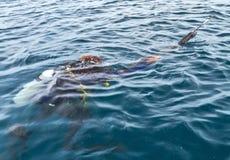 Заплывание водолаза акваланга в рыболове неопрена мокрой одежды Стоковое Фото