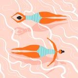 Заплывание девушки на задней части в воде Стоковые Изображения