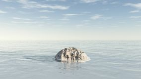 Заплывание метеорита каменное в океане Стоковое Изображение RF