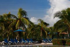 заплывание солнца стороны курорта бассеина кроватей голубое Стоковые Фотографии RF