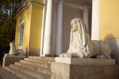 Заповедник Tsaritsyno музея, беседка MILOVIDA, сфинксы Стоковая Фотография