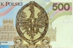 Заполированность банкнота 500 злотых Стоковое Изображение