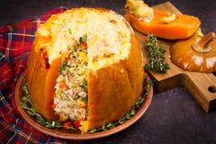 Заполненная тыква при рис, грибы, мясо, яичка и овощи, гарнированные с тимианом Стоковые Фото
