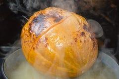 Заполненная тыква с частями плодоовощ Стоковое фото RF