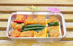 заполненное готовое чилей capsicum барбекю Стоковое Фото
