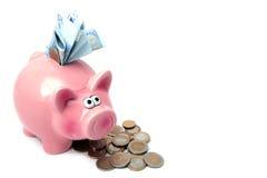 заполненное piggy дег банка Стоковое фото RF