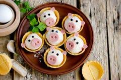 Заполненные tartlets закуски в форме смешных свиней стоковые изображения rf