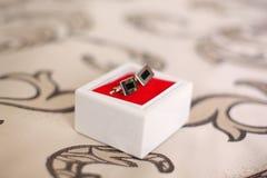 2 запонки для манжет в маленькой коробке Стоковое фото RF