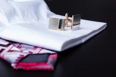 Запонки для манжет, стиль, аксессуар moda Стоковые Изображения RF