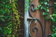 Запорная заслонка металла на двери строба Стоковое Фото