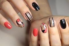Заполированность геля дизайна ногтя молодости Стоковые Изображения RF