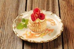 Заполненная заварным кремом раковина печенья слойки с полениками Стоковое фото RF