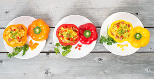 3 заполненная паэлья chorizo Стоковое Изображение