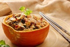Заполненная тыква с рисом и грибами Стоковые Изображения RF