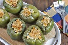 Заполненные зеленые болгарские перцы Стоковая Фотография