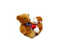 Заполненные плюшевый медвежонок и обезьяна с сердцем я тебя люблю Стоковая Фотография RF
