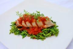 Заполненный кальмар с мясом & томатным соусом Стоковые Изображения RF