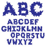 Заполненный шрифт чернил шарика Нарисованная рукой купель эскиза Голубой комплект алфавита EPS 8 стоковые изображения
