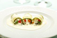 Заполненный zucchini с рисом и овощами Стоковые Фото