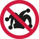 Запретите знак с шляпой шутника - никакую масленицу иллюстрация штока