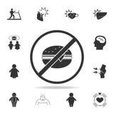запретите на значке гамбургеров Детальный комплект значков тучности Наградной графический дизайн Один из значков собрания для веб иллюстрация штока