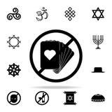 Запретите на значке играя карточек Комплект значков вероисповедания всеобщий для сети и черни иллюстрация штока