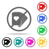 Запретите на значке играя карточек Элементы значков вероисповедания multi покрашенных Наградной качественный значок графического  иллюстрация вектора