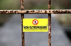 Запретите на пересекать границу в Италию Стоковая Фотография RF
