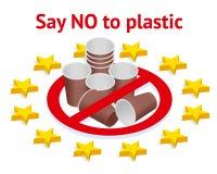 Запретите пользу пластиковых утварей в Европейском союзе r ( environmental иллюстрация вектора