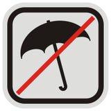 Запрет входа с зонтиком, черной рамкой силуэта зонтика, значка вектора, кнопки, черных и серых Стоковые Изображения RF
