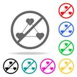 Запрет на значке прелюбодеяния Элементы значков вероисповедания multi покрашенных Наградной качественный значок графического диза бесплатная иллюстрация