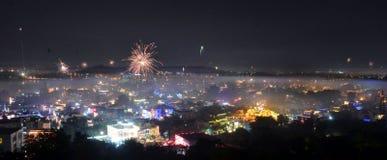 Запрет на шутихах Diwali в столице Индии Стоковое фото RF
