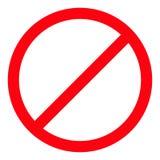 Запрет отсутствие символа Красный круглый предупредительный знак стопа шаблон Белая предпосылка изолировано Плоский дизайн иллюстрация вектора