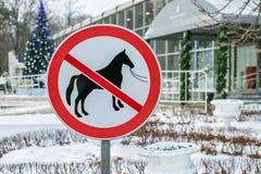 Запрещенная лошадь дорожного знака Стоковое Фото
