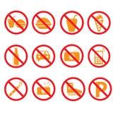 Запрещенные знаки комплекта символов, Стоковые Фотографии RF