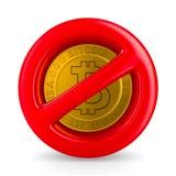 Запрещенные знак и bitcoin на белой предпосылке Изолированное illu 3d Стоковое Изображение RF